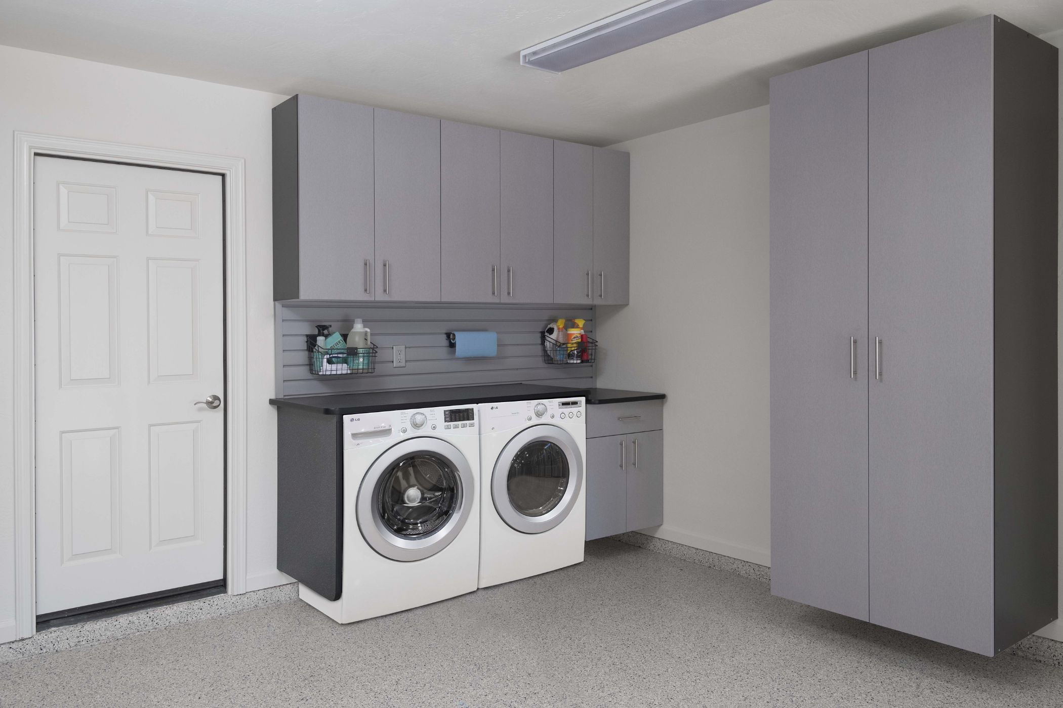 Silver Slate Cabinets With Washer Dryer Angle Malouf 2016