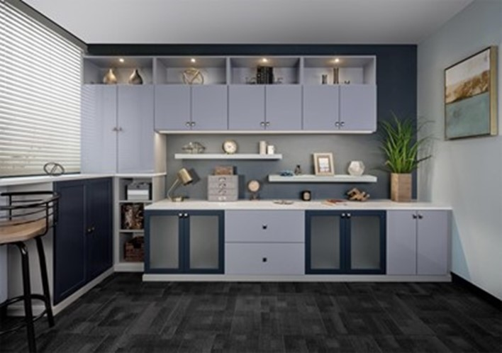 Modern Custom Office cabinets in Austin keep the space organized.